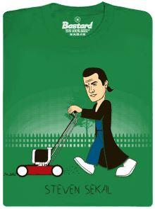 Steven Sekal trávu sekačkou - zelené pánské tričko s potiskem