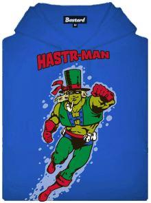 Hastr-mann - modrá pánská mikina s potiskem