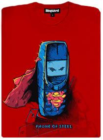 Nokia 3310 jako superman v modrém obleku a s červeným pláštěm a logem s písmenem S
