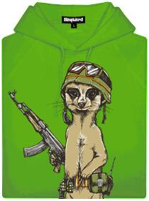 Surikata voják - zelená pánská mikina