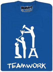 Modré tričko teamwork