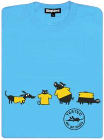 Modré dámské tričko s potiskem testováno na zvířatech
