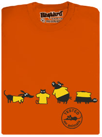 Testováno na zvířatech - oranžové pánské tričko s potiskem