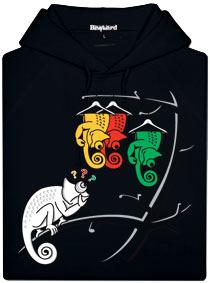 Černá pánská mikina s potiskem Těžká volba chameleona