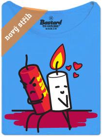 Trinitrotoluen a svíčka - modré dámské tričko s potiskem