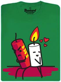 TNT a svíčka - zelené pánské tričko s potiskem