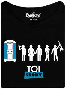 Fronta na záchod na festivalu - černé dámské tričko s potiskem