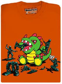 Plyšový dinosaurus versus vojáčci - hračky