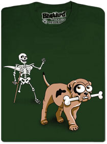 Tričko kostlivec a pes - zelené