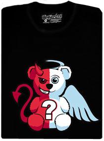 Tričko s potiskem medvídka, který je napů anděl a napůl ďábel