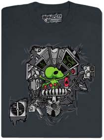 Tričko s potiskem mimozemšťana programátora uvnitř hrudníku
