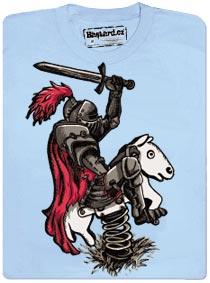 Tričko s potiskem - Rytíř houpající se na houpacím koni na pružině