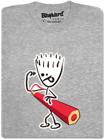 Tričko s potiskem - Svaly dokreslené tužkou - šedé