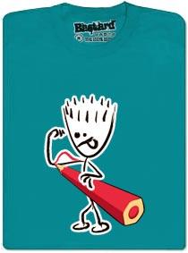Tričko s potiskem - Svaly dokreslené pastelkou