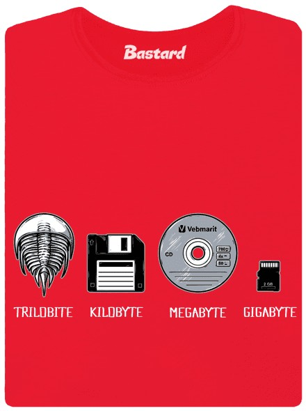 Trilobit vs disketa vs CD vs SD kartz - červené dámské tričko