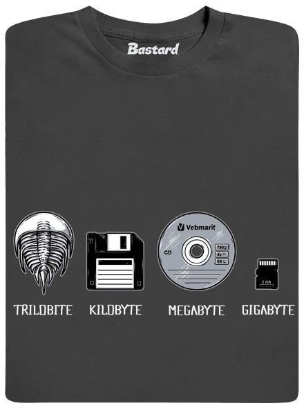 Trilobite kilobyte megabyte gigabyte - šedé pánské tričko