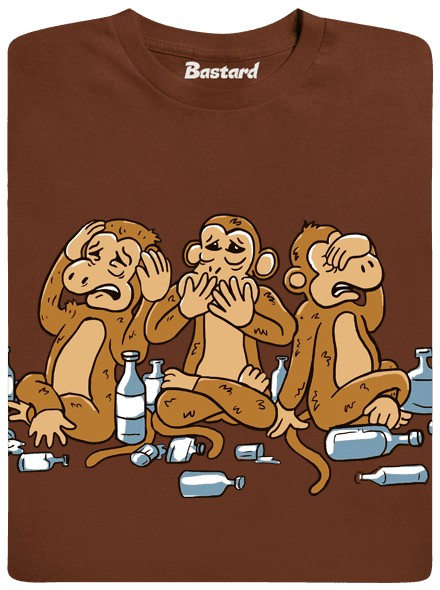 Opice která neslyší, bleje a nechce vidět - hnědé pánské tričko