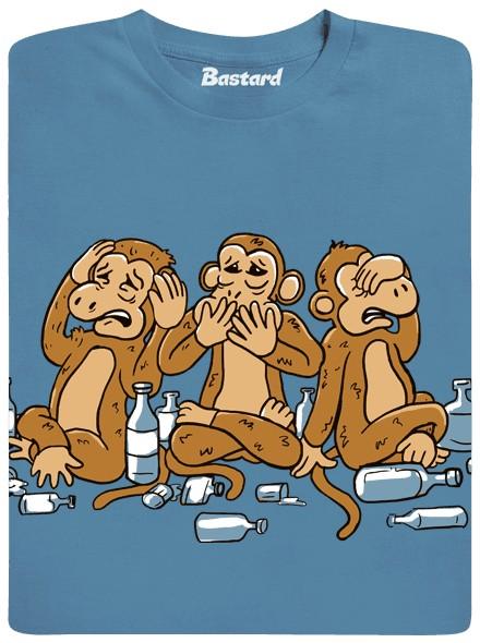 Trojásobná opice - modré pánské tričko