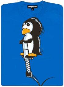 Skákající tučňák na hopsadle - modré dámské tričko