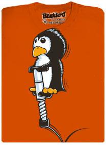 Tučňák na pogo sticku - oranžové pánské tričko s potiskem