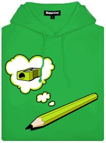 Zelená pánská mikina Tužka myslí na ořezávátko