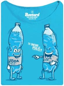 Neperlivá voda říká perlivé vodě, že dneska perlí - modré dámské tričko
