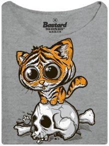 Tygr s velkýma očima - šedé dámské tričko s potiskem