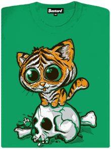 Tygřík s roztomilým velkým kukučem - zelené dámské tričko