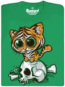 Roztomilý tygřík na lebce - zelené pánské tričko s potiskem