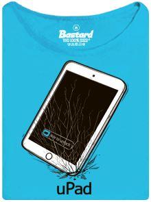 iPad mi vypadl z ruky a je z něj uPad - modré dámské tričko