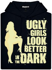 Ugly girls look better in dark - pánská mikina černá