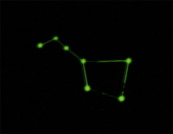 Souhvězdí Velký vůz jako potisk na tričku, které je fosforeskující (v noci svítí)