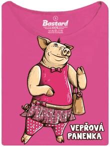 Vepřová panenka na tričku s potiskem - fuchsiová dámské tričko