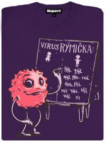 Virus rýmička a jeho oběti - fialové dámské tričko s potiskem