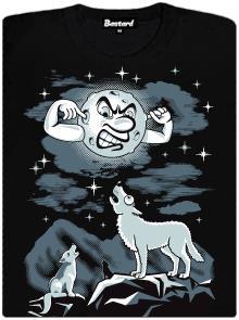 Vlk vyjící na měsíc - černé dámské tričko