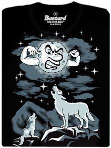 Vlci vyjí na měsíc - černé pánské tričko