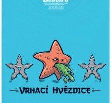 Vrhací hvězdice - modré dámské tričko