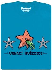 Vrhací hvězdice - modré pánské tričko