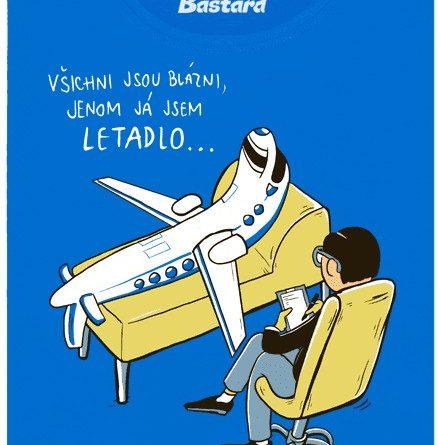Letadlo na gauči u psychologa - modré dámské tričko