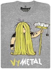Vymetal - metalista s koštětem - šedé pánské tričko