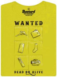 Wanted - dead or alive - žluté dámské tričko