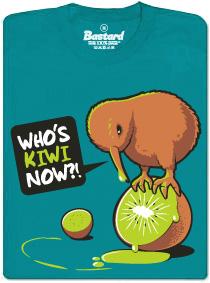 Who's kiwi now?! - modré pánské tričko s potiskem