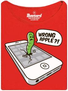 Červ v iPhone od firmy Apple - červené dámské tričko