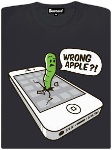 Červ si spletl Apple a kousl do iPhone - šedé dámské tričko