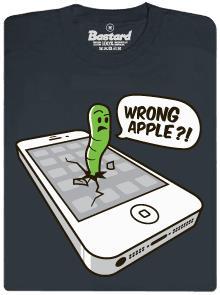 Wrong apple?! - šedé pánské tričko s potiskem