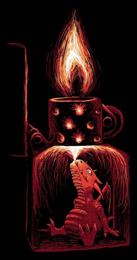 Malý drak sedí uvnitř zapalovače Zippo a chrlí oheň