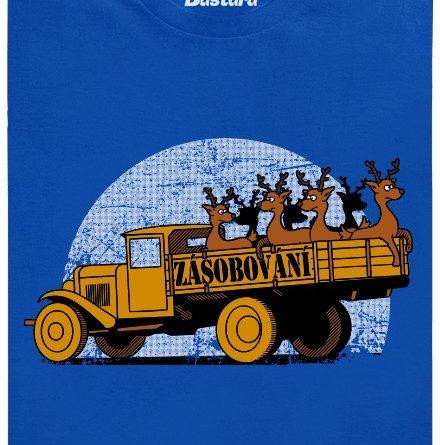 Zásobování - rozvoz sobů - modré pánské tričko