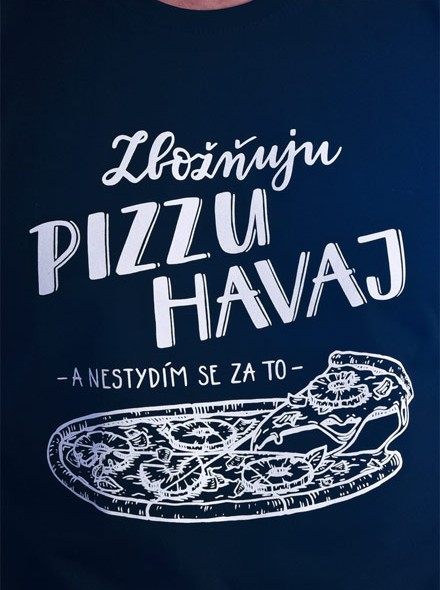 Zbožňuju pizzu Hawai a nestydím se za to - černé pánské tričko