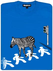Zebra jde na přechodu po chodcích