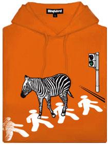 Oranžová dámská mikina s potiskem Zebra jdoucí na přechodu po chodcích